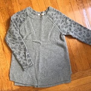 Rebecca Taylor gray leopard sweater XS